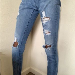 Pac Sun Distressed Low-Rise Skinny Jeans